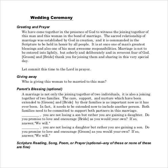 wedding cermony template for download