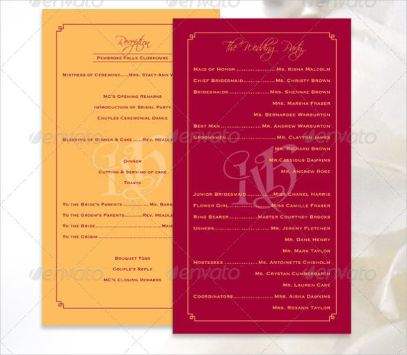 Wedding Ceremony Program Templates PSD AI InDesign PDF DOC - Photoshop wedding program template