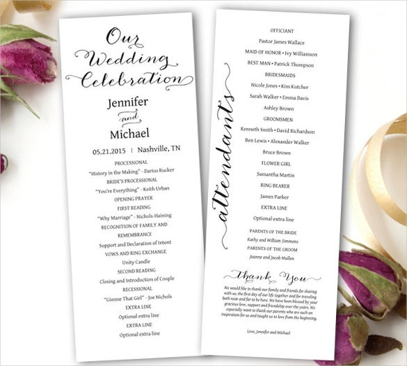 free wedding brochure templates download - wedding ceremony program template 36 word pdf psd