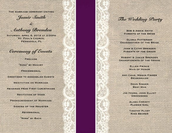 designed weddding cermony template for download