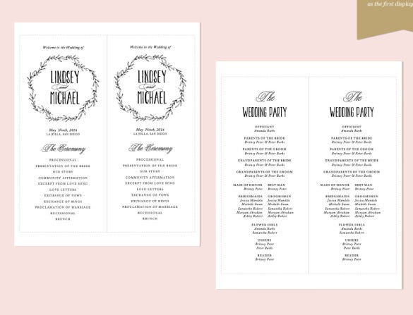 word wedding program template