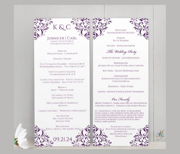free wedding program templates word
