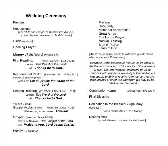 26 wedding ceremony program templates psd ai indesign for Christian wedding order of service template