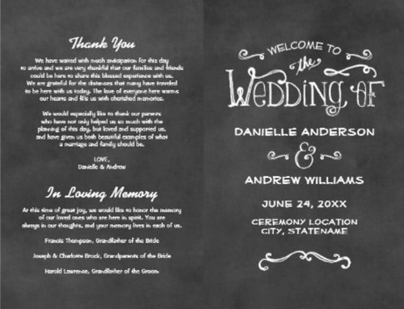 chalk board theme wedding cermony template
