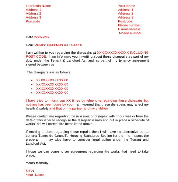 landlord to tenant sample letters