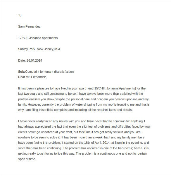 9 tenant complaint letter templates free sample example format sampleletterz in case you need to make a complaint about water problems in your apartment this sample letter template can help in drafting the spiritdancerdesigns Images