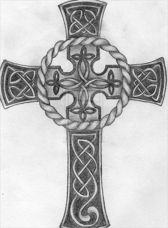 celtic cross tattoo drawing