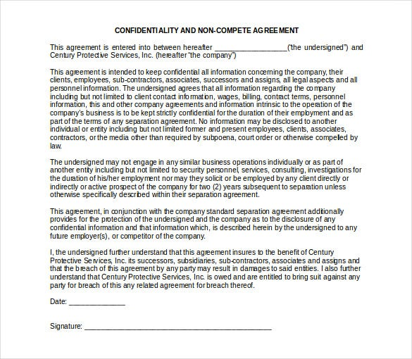 confidentiality non compete agreement free word template1