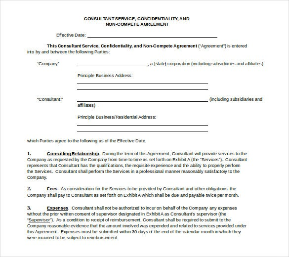 10+ Word Non Compete Agreement Templates Free Download | Free