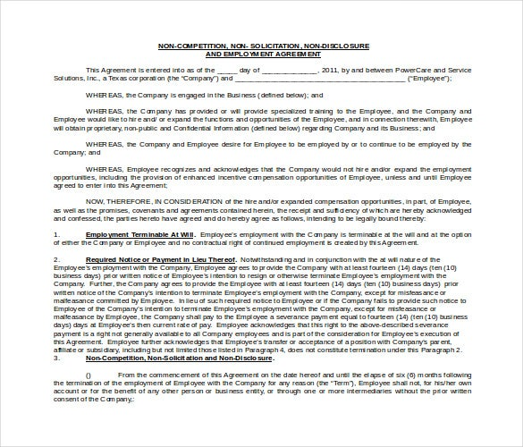 word format employment non compete agreement 1
