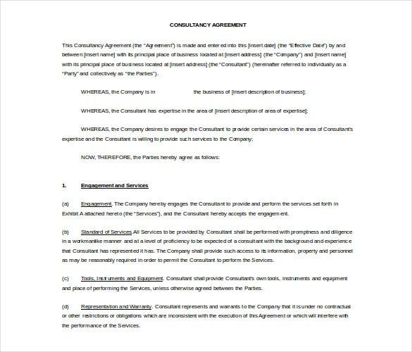 consultancy non compete agreement free word template1