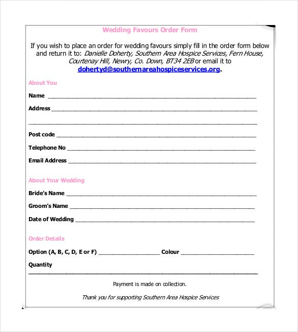 wedding favours order form free download