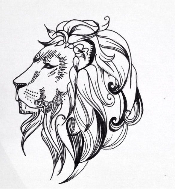 quick lion tattoo drawing