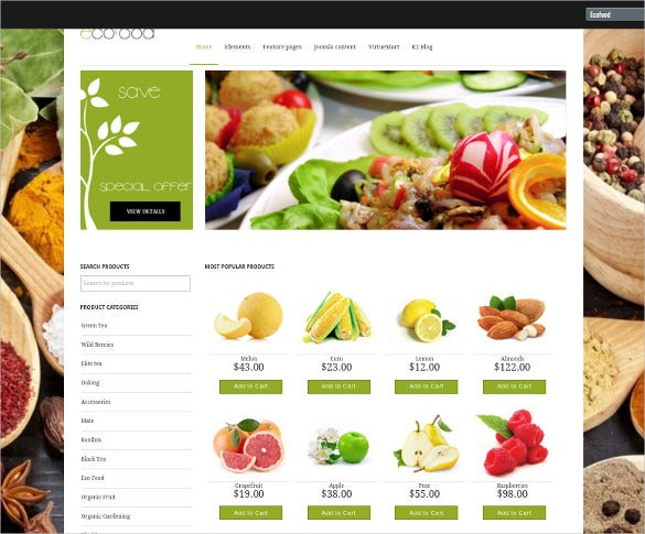 grocery store virtuemart website template
