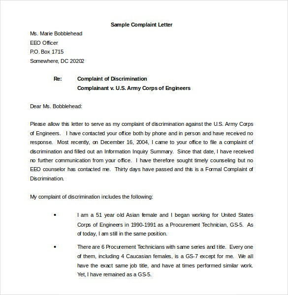 Sample Eeo Complaint Letter  Cover Letter Sample