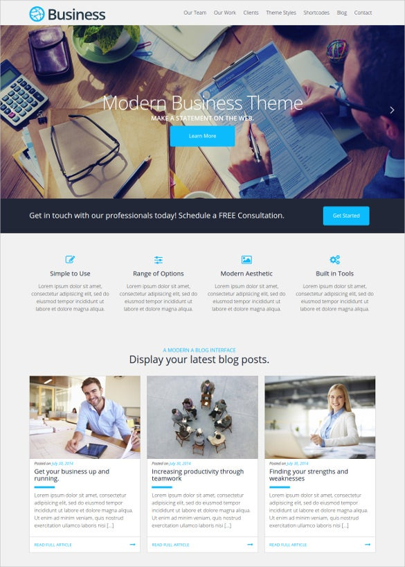 business wordpress free theme