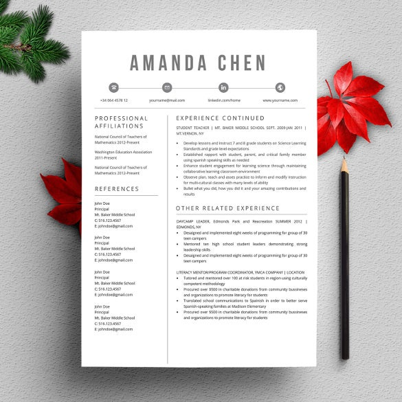 creative stylish professional resume word template