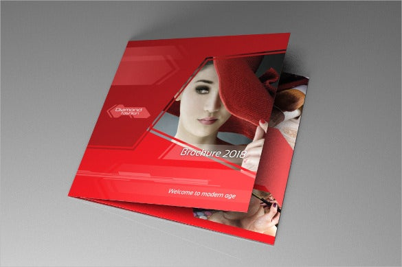 indesign red diamond tri fold brochure template