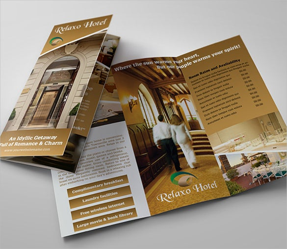 hotel and motel tri fold brochure template