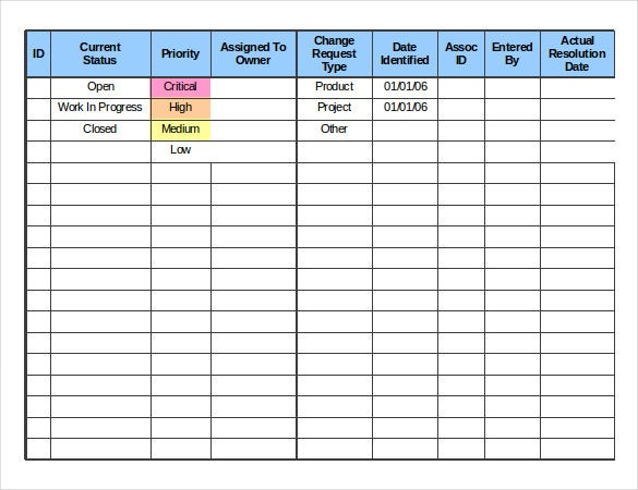 change log order template free excel download6