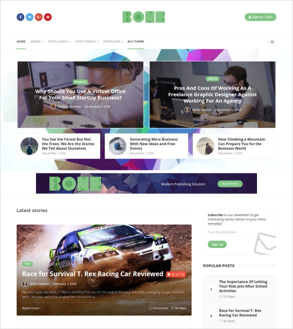 minimalist modern responsive wordpress blog theme