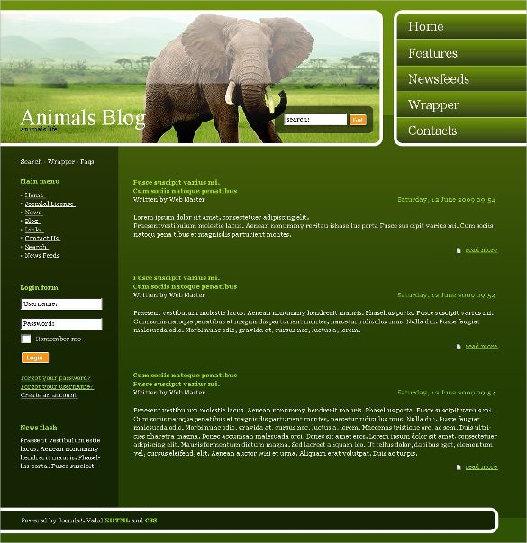 wild life elephant animal pets psd template 11