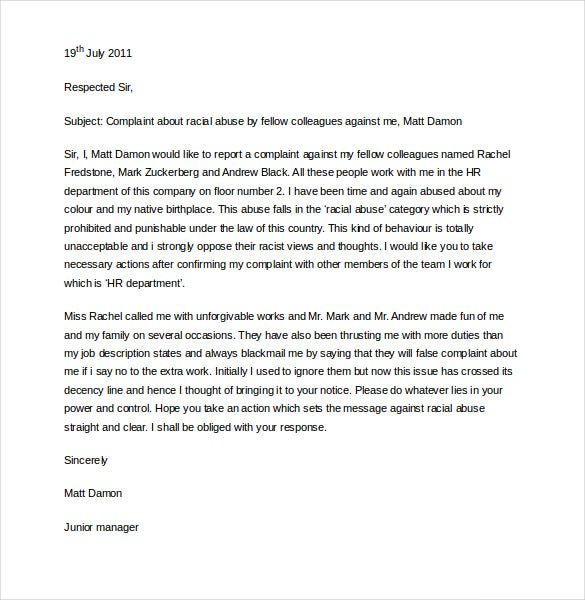 sample hr complaint letter free download