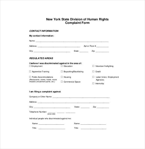 Free Donwload HR Complaint Form  Free Customer Complaint Form Template