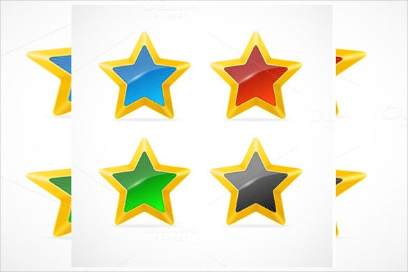colorful star icons set download