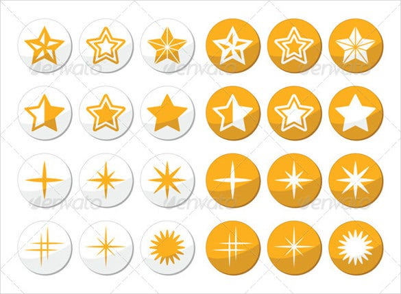 stunning stars round icons set download
