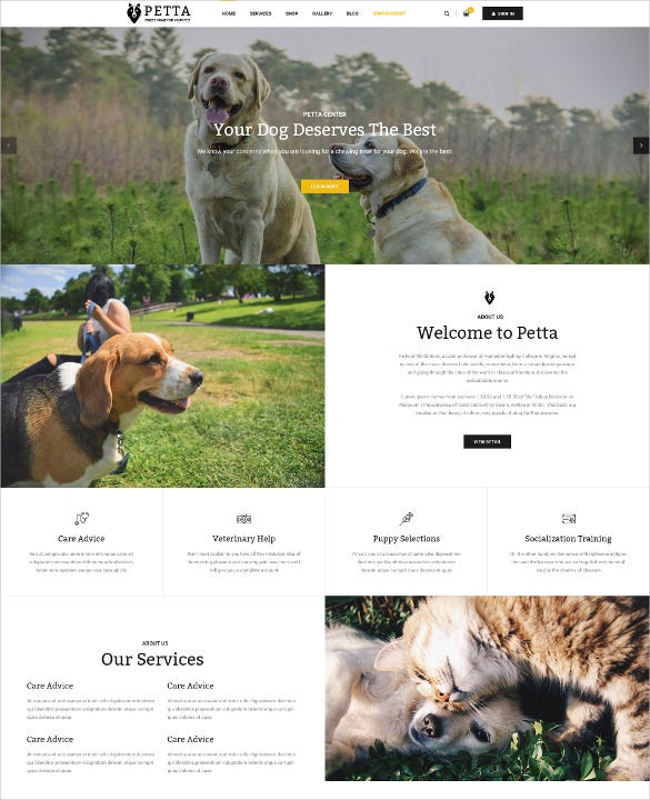 premium animal pet care psd template 12