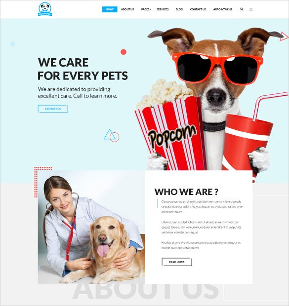animal pet services psd template 3