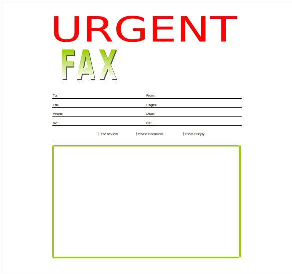urgent fax cover sheet template free word