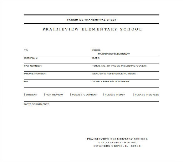 prairieview fax cover template free word download