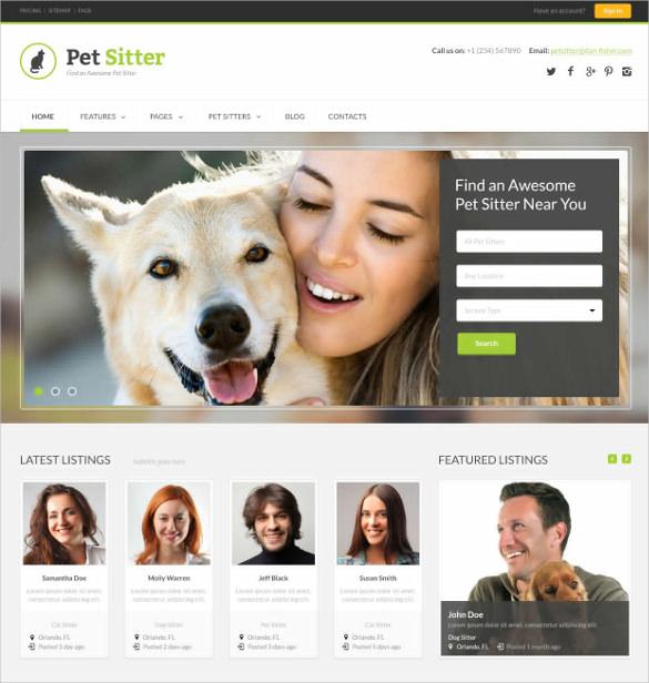 animal pets responsive html5 css3 psd template 17