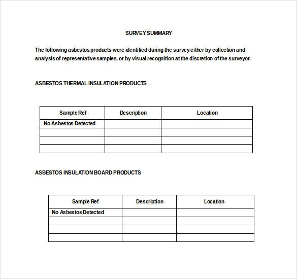 Word Asbestos Survey Template Word Free Download  Free Survey Templates
