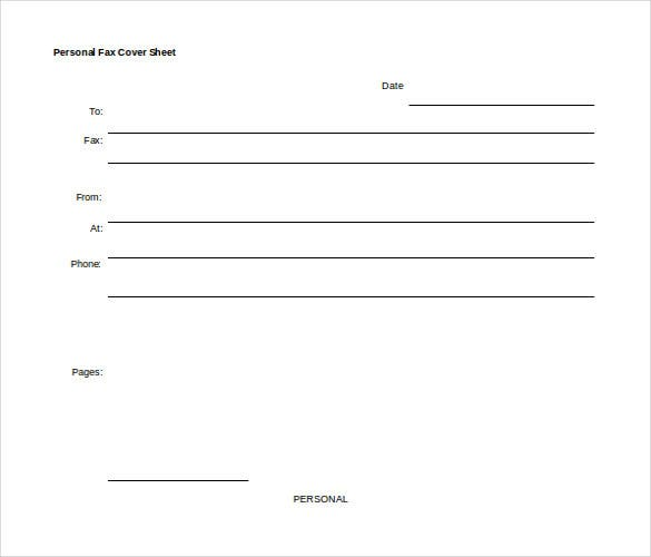 personal fax cover sheet free word template