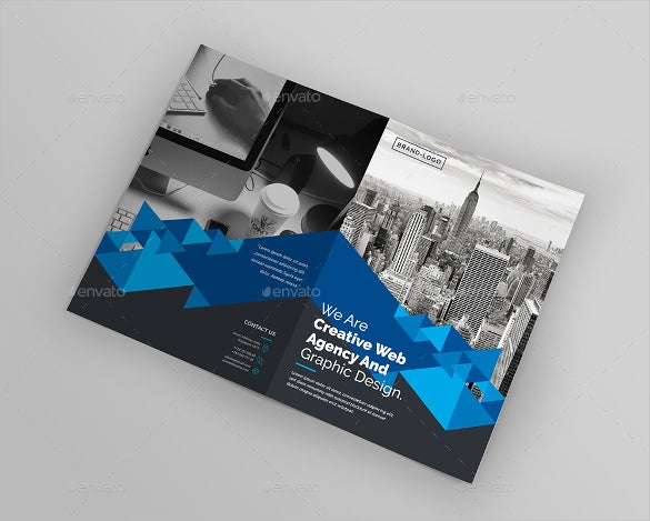 standard bi fold brochure template psd download