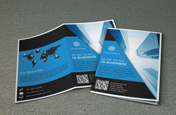 business designed bi fold brochure template psd download