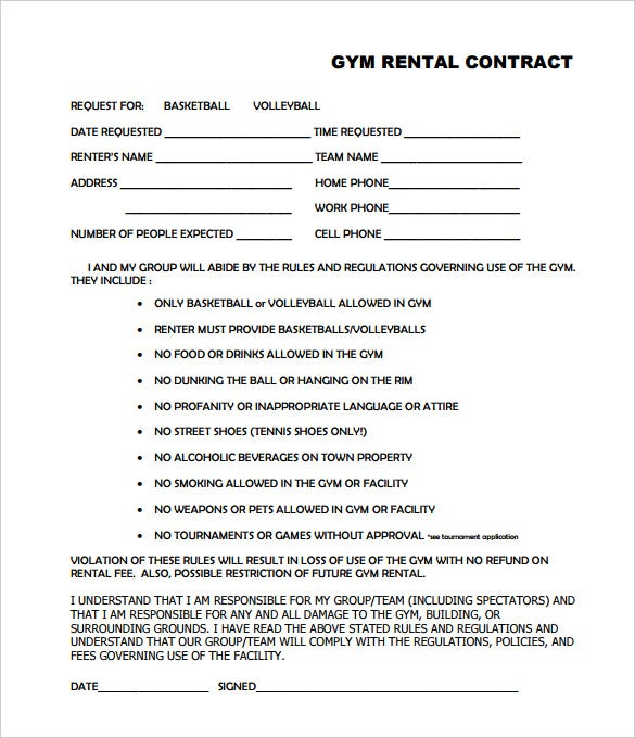Gym Contract Template   Free Word Pdf Documents Download