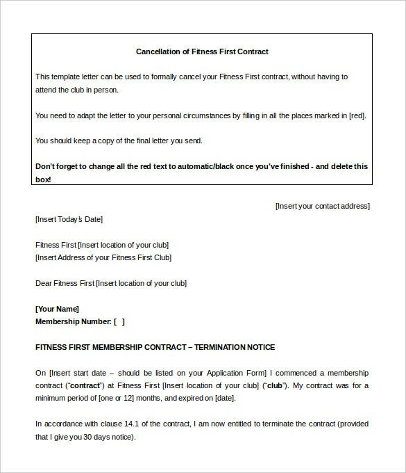 Gym contract template 14 free word pdf documents for Gym membership cancellation letter template free