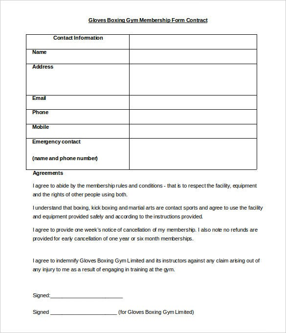 Gloves Boxing Gym Membership Form Contract Template