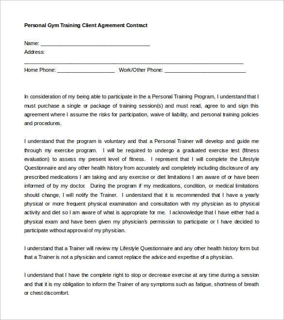 personal trainer contract with gym template form download