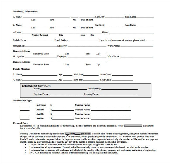 gym fitness center membership application contract printable