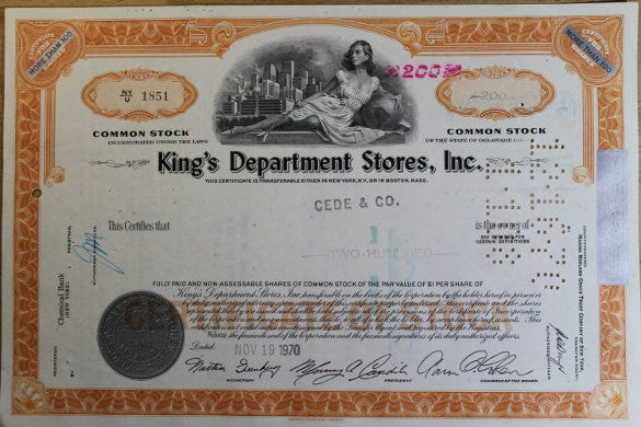 common stock vintage original shares certificate download