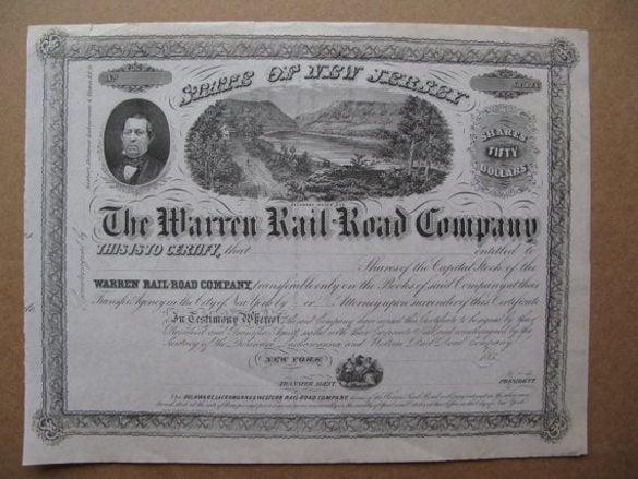 1859 the warren railroad company share stock certificate