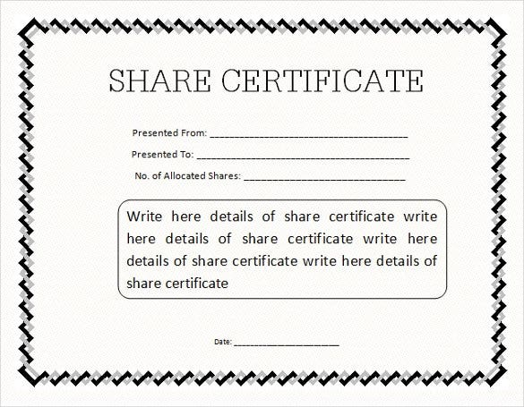 share certificate template word format editable download - Water Efficiency Certificate Template