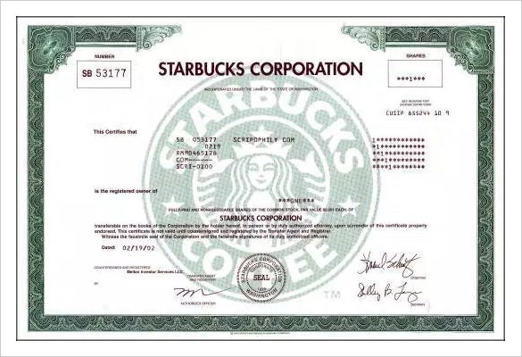 starbucks limited company share certificate template