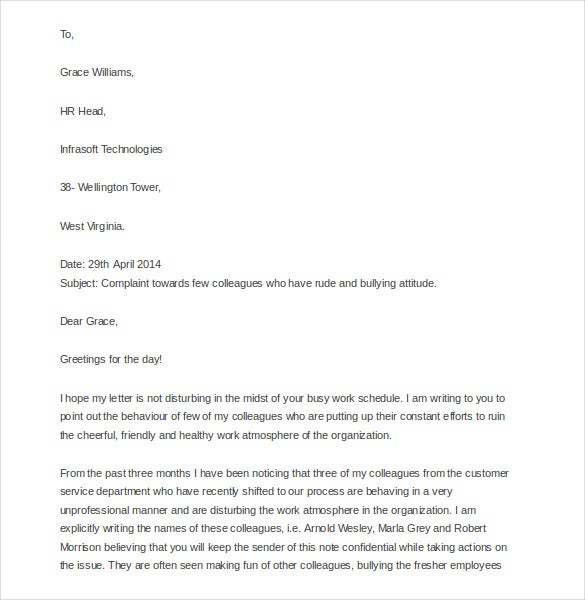 discrimination complaint letter templates sample  example discrimination complaint letter