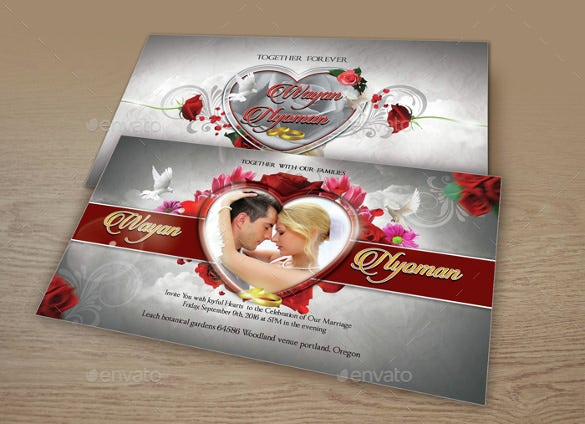 heart theme wedding invitation template for download